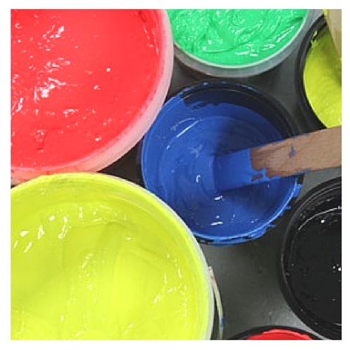 Image of pots of screen printing inks