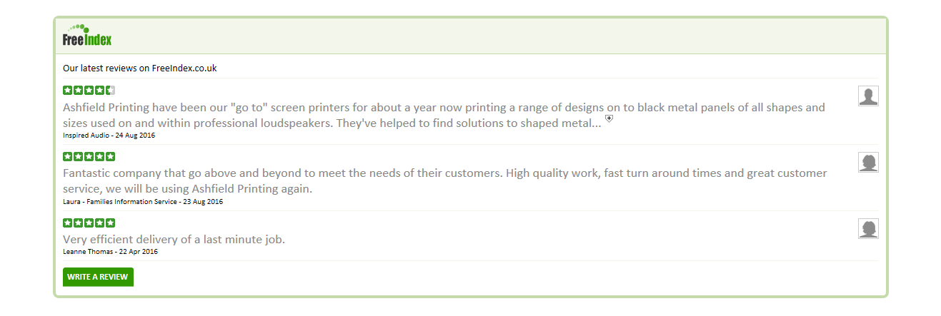 Ashfield Printing (Derby) Ltd Customer Reviews