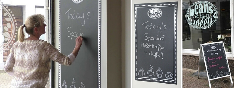 Chalkboard film used on a wall and on a A-Board
