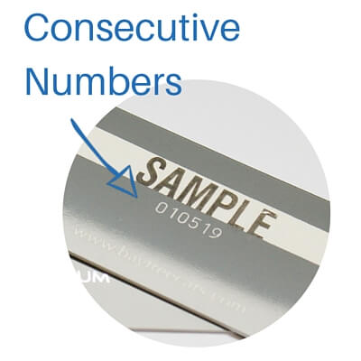 consecutive numbers on loyalty cards