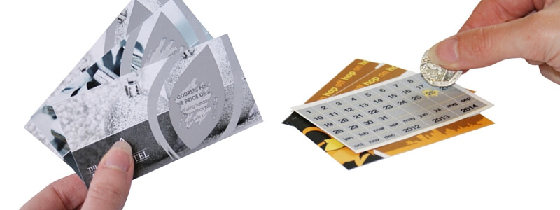 Image of 2 different types of printed scratch cards