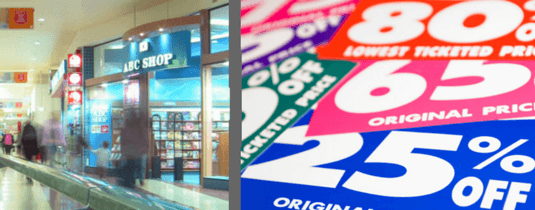 image of promotional labels and a retail outlet