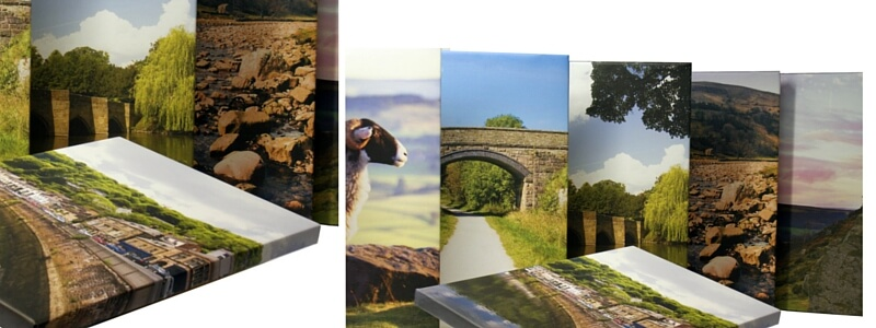 A selection of printed canvases