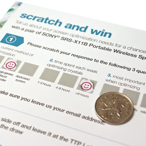 Direct mail questionnaire with scratch off panels